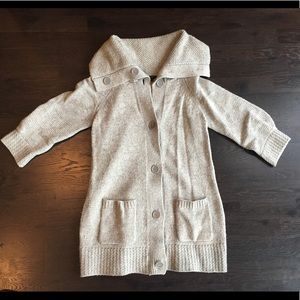 BCBG Max Azria Button Front Wool Sweater with Cape